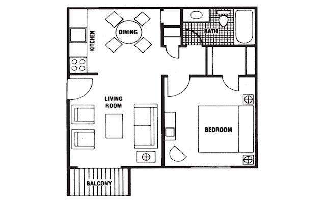 518 sq. ft. Derby floor plan