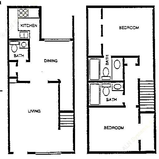 1,035 sq. ft. TH B-2 floor plan