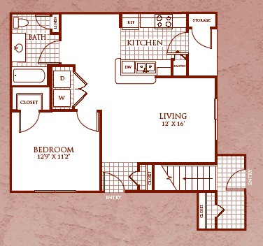 590 sq. ft. A3 floor plan