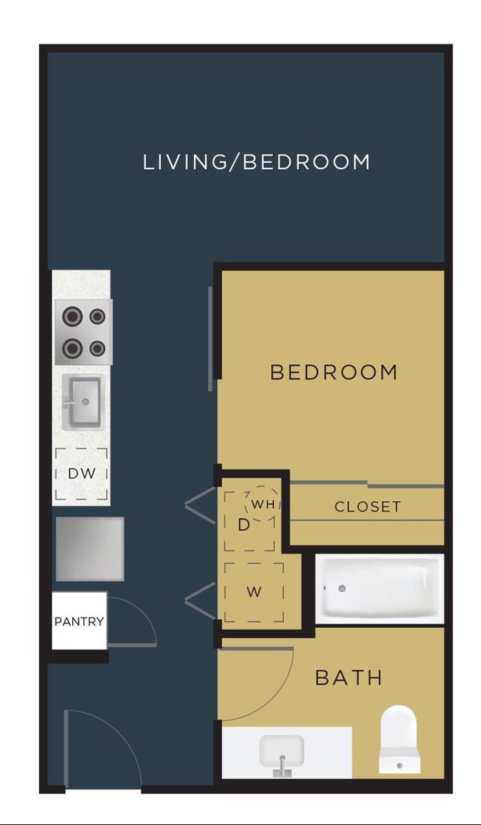 468 sq. ft. E1 floor plan