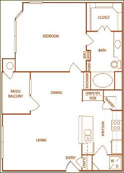 846 sq. ft. A3-Glen floor plan