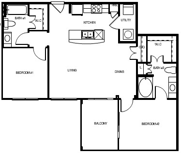 1,041 sq. ft. Moscow floor plan
