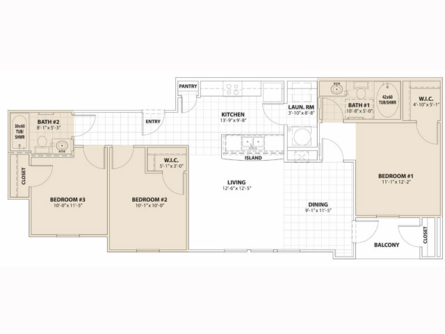 1,083 sq. ft. 50% floor plan