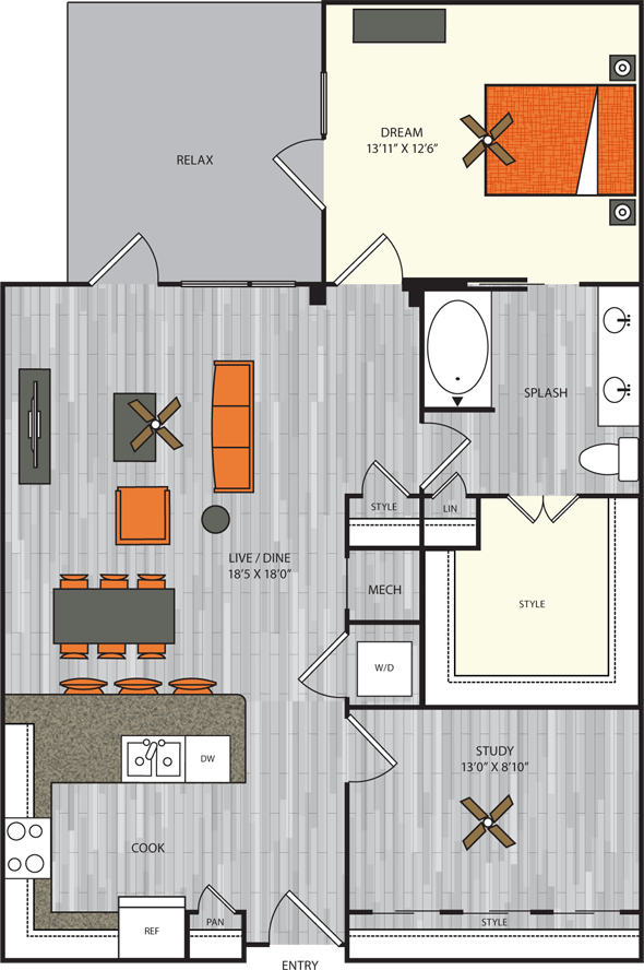 1,085 sq. ft. A10.1 floor plan