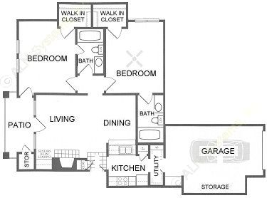 992 sq. ft. B3-GAR. floor plan