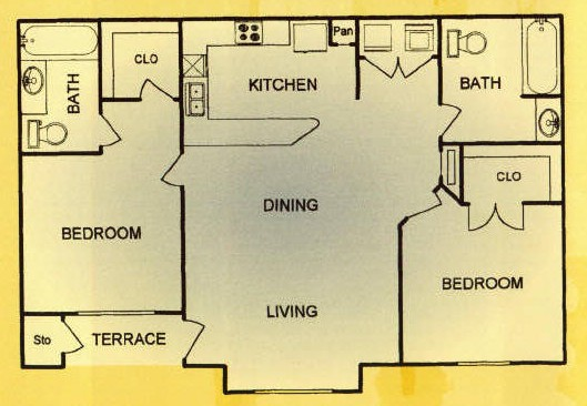 972 sq. ft. 30% floor plan