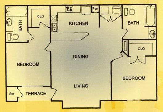 972 sq. ft. 60% floor plan