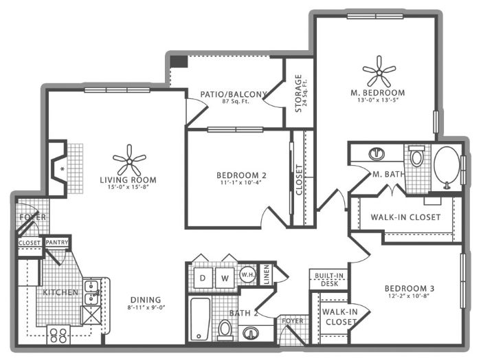 1,388 sq. ft. C2 floor plan