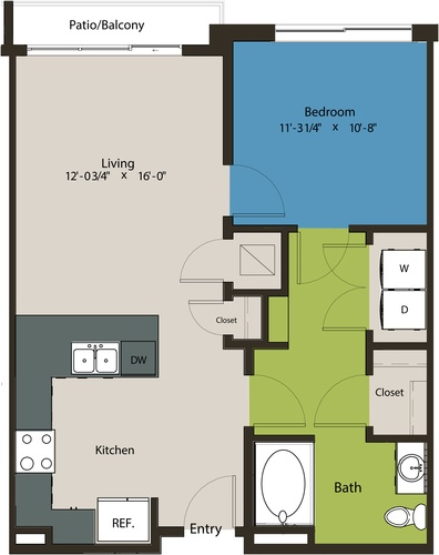 726 sq. ft. A1-HC floor plan