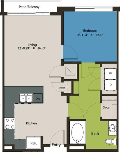 726 sq. ft. A1-HC floor plan