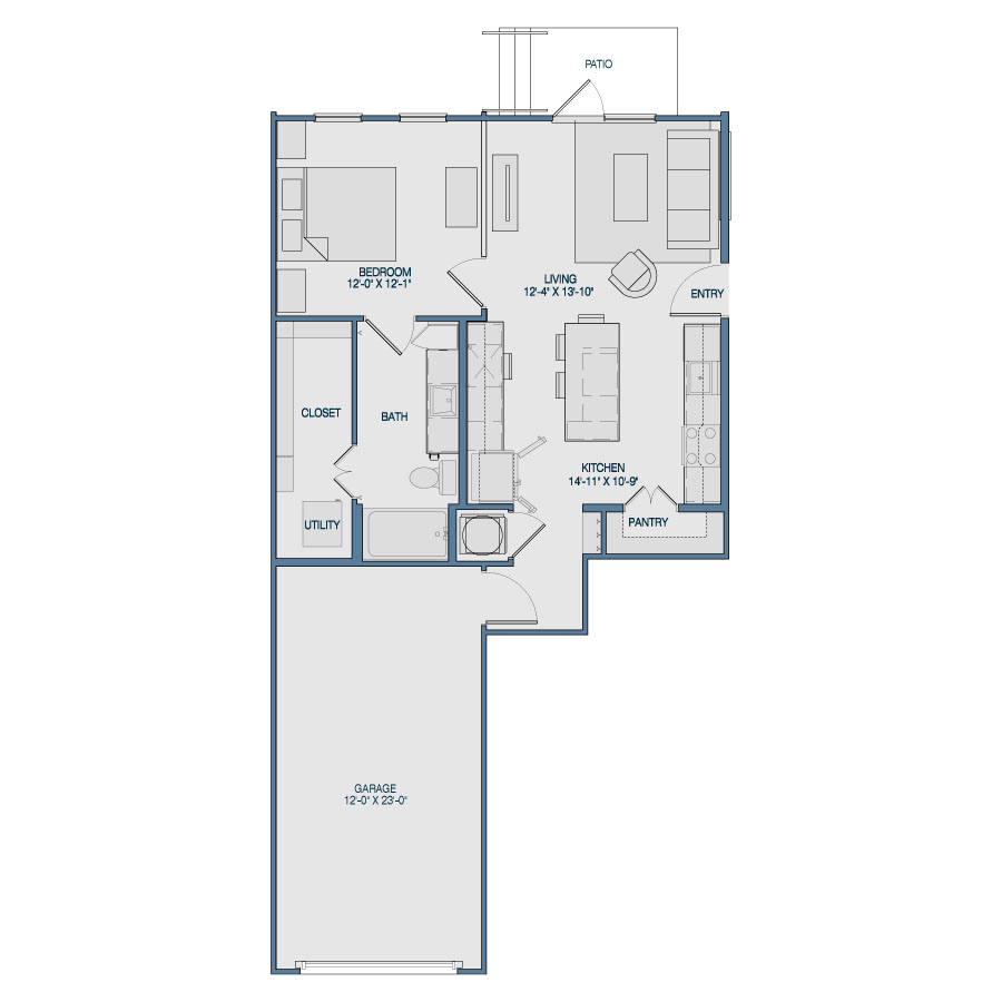739 sq. ft. A8 floor plan