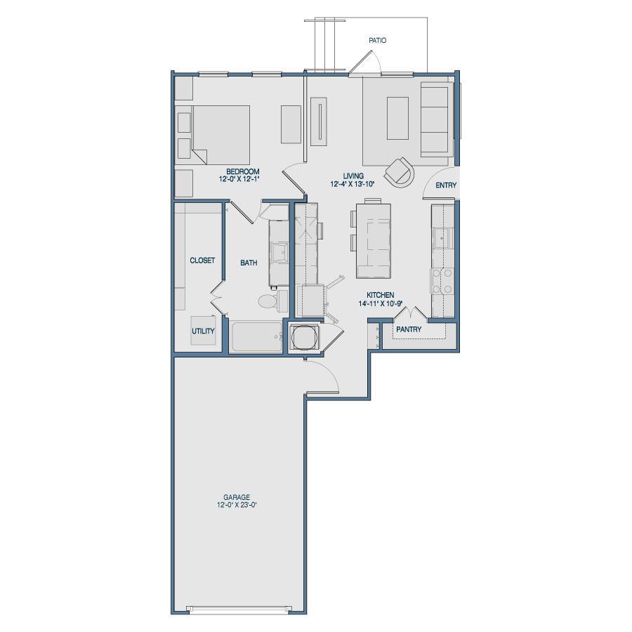 739 sq. ft. A8 floor plan