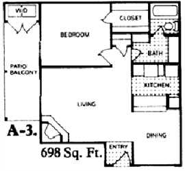 698 sq. ft. A3 floor plan