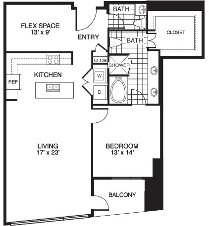 1,306 sq. ft. Optimistic/Tower floor plan