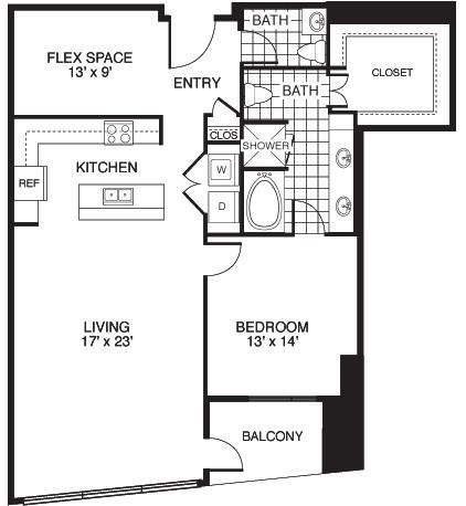 1,305 sq. ft. E1/TOWER floor plan