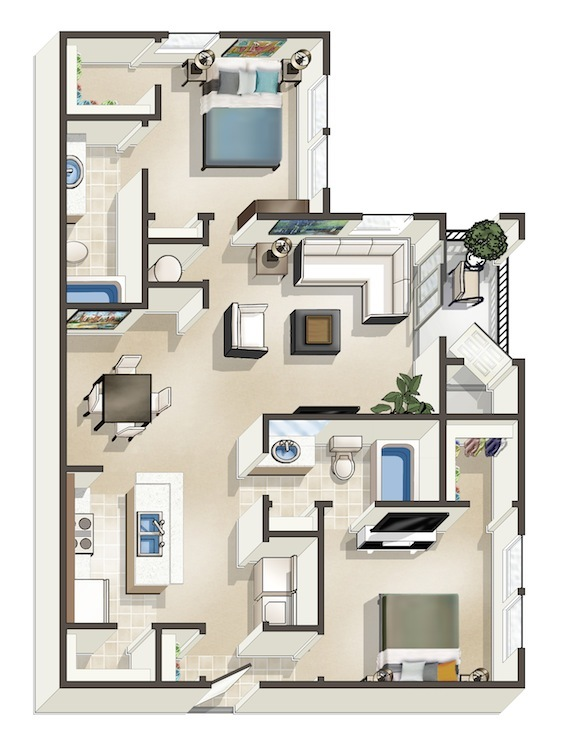 1,099 sq. ft. C floor plan