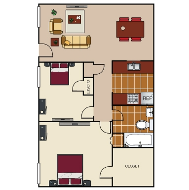 725 sq. ft. B2 floor plan