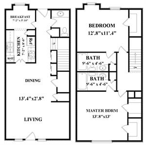 1,328 sq. ft. E1 floor plan