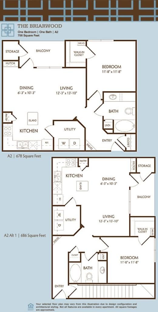756 sq. ft. to 854 sq. ft. A2/BRAIRWOOD floor plan