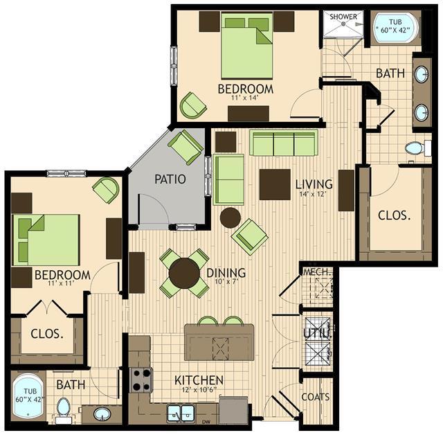 1,269 sq. ft. Monet floor plan