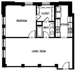 531 sq. ft. P7-60 floor plan