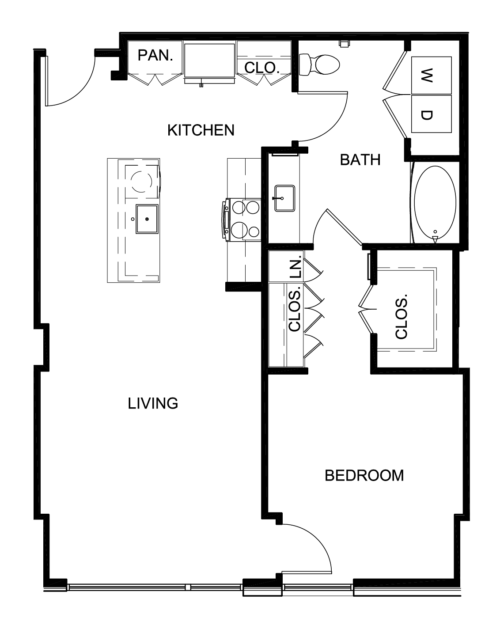 875 sq. ft. A7 floor plan
