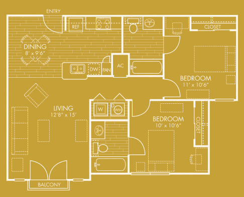 878 sq. ft. B floor plan