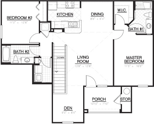 1,251 sq. ft. B2D/B2DG floor plan