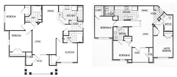 1,118 sq. ft. to 1,141 sq. ft. 60% floor plan