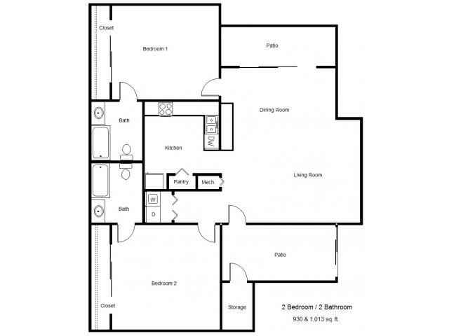 865 sq. ft. 60% floor plan