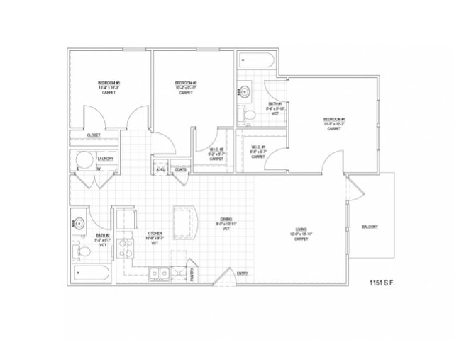 1,151 sq. ft. 60% floor plan