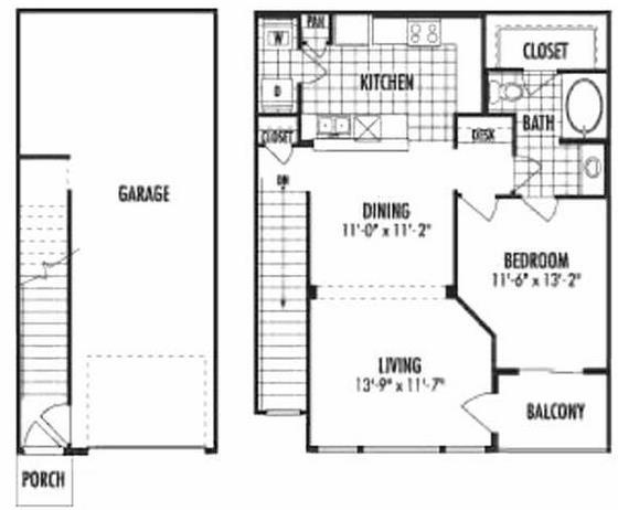 902 sq. ft. A4 floor plan