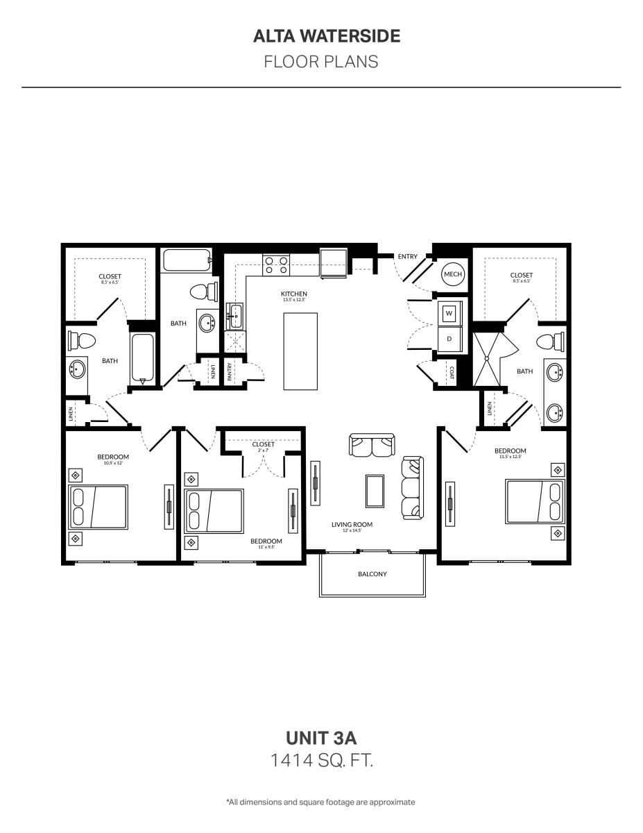 1,414 sq. ft. 3A floor plan
