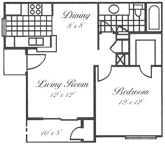 577 sq. ft. A1 floor plan