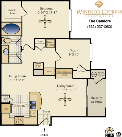 862 sq. ft. Calmore floor plan