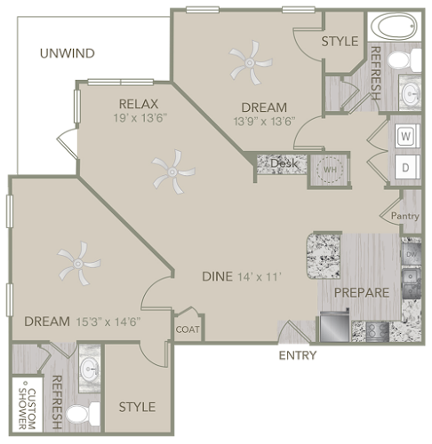 1,279 sq. ft. B3 floor plan