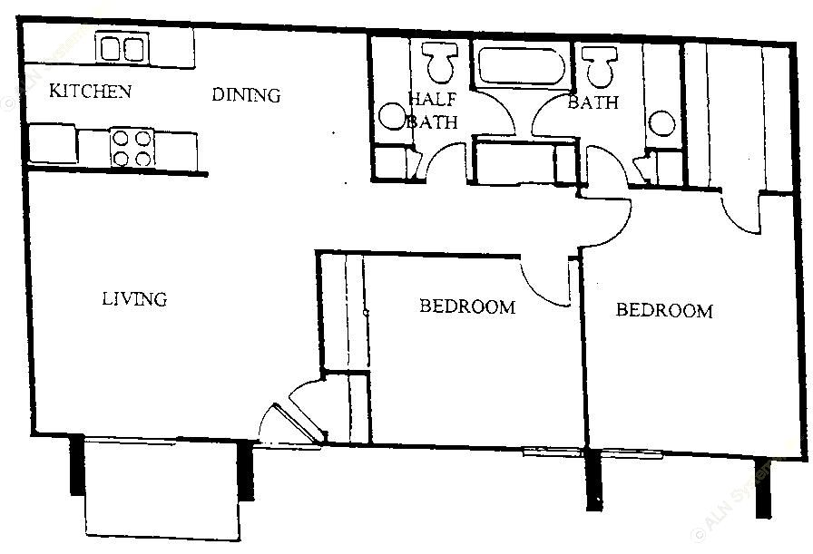 878 sq. ft. B1 floor plan