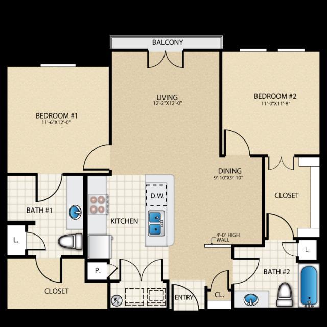 1,053 sq. ft. B1 floor plan