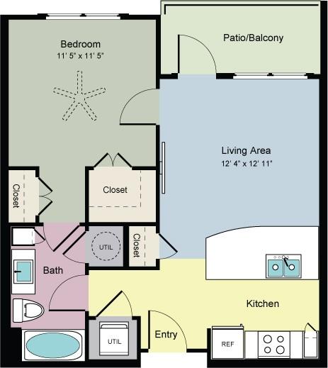 651 sq. ft. Shape (A1A) floor plan