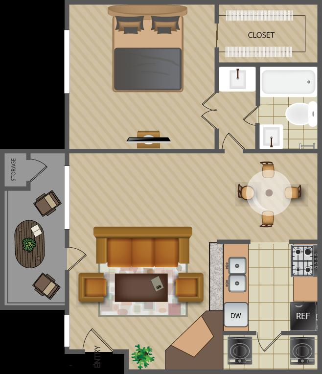 747 sq. ft. Park-A8 floor plan