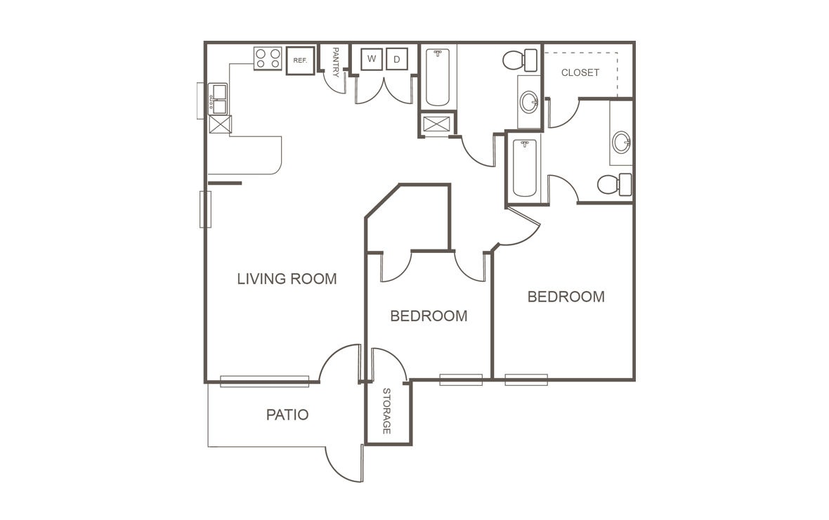 916 sq. ft. 60% floor plan