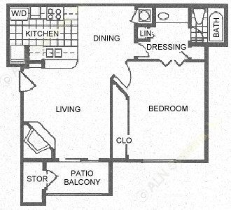 639 sq. ft. A4 floor plan