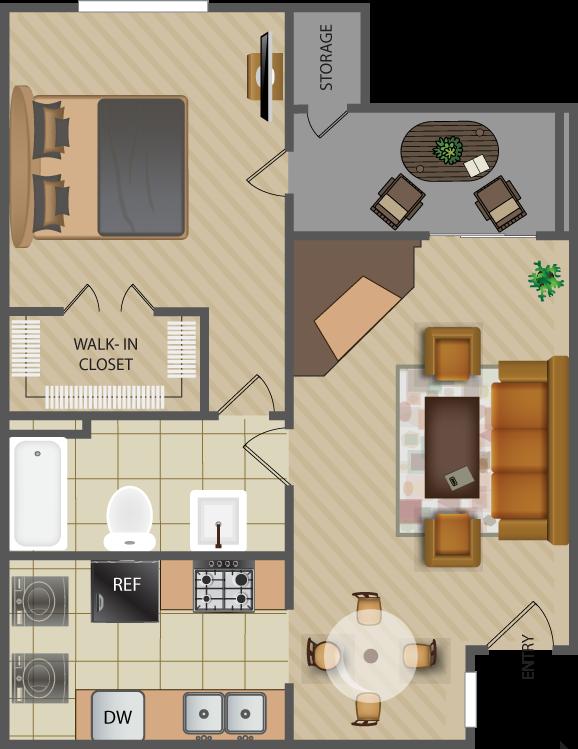561 sq. ft. Oak-A2 floor plan