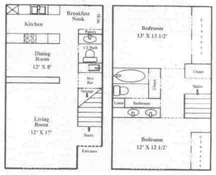 1,073 sq. ft. B-4 floor plan