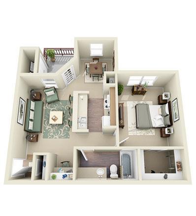 734 sq. ft. Chickhahauk floor plan