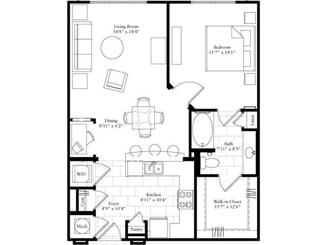 821 sq. ft. floor plan
