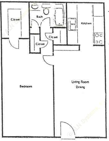 615 sq. ft. B floor plan
