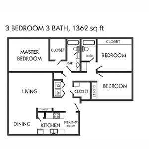1,362 sq. ft. H floor plan