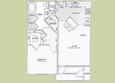 730 sq. ft. Avalon floor plan