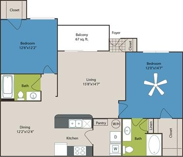 1,143 sq. ft. B2 floor plan